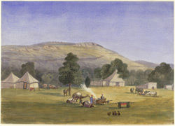 A. R. Pollock's camp under the Kaimur hills (U.P.). December 1868
